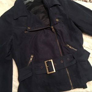 Navy Faux Suede Moto Jacket